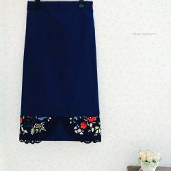 画像1: 刺繍に恋するナロースカート